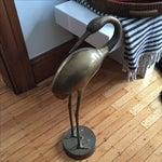 Image of Vintage Brass Stork Figure