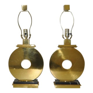Pair of Robert Abbey Vintage Brass & Marble Table Lamps