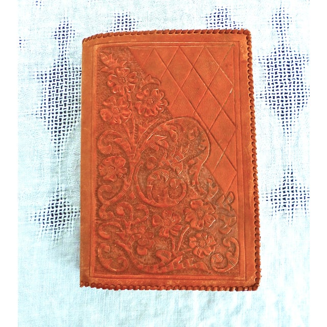 Mid-Century Hand-Crafted Brown Leather Book Cover - Image 2 of 5