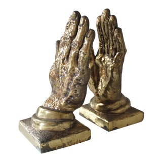 Vintage Brass Praying Hands Bookends - a Pair
