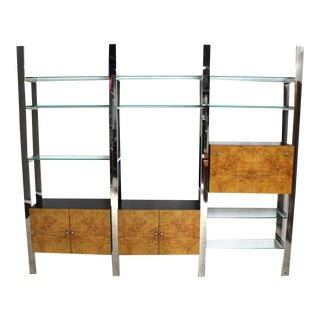 Burl Wood Thick Glass Shelves 3 Bay Wall Unit