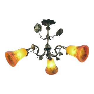 A French Art Nouveau Ceiling Fixture with Art Glass Shades