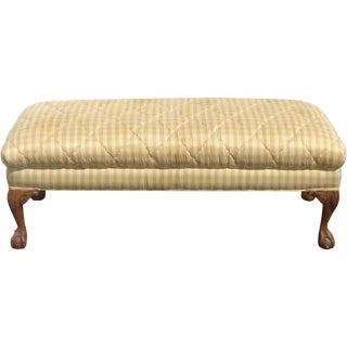Gold Plaid Diamond Stitch Silk Carved Pillow Bench