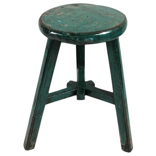 Turquoise Lacquered Wood Stool