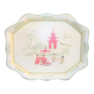 Chinoiserie Pink & Cream Tole Tray