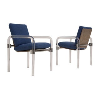 Lucite & Chrome Easy Chairs By Jeff Messerschmidt