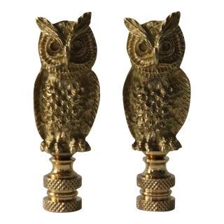 Brass Owl Lamp Finials - Pair