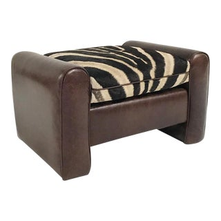 Restored Vintage Leather & Zebra Hide Cushion Ottoman