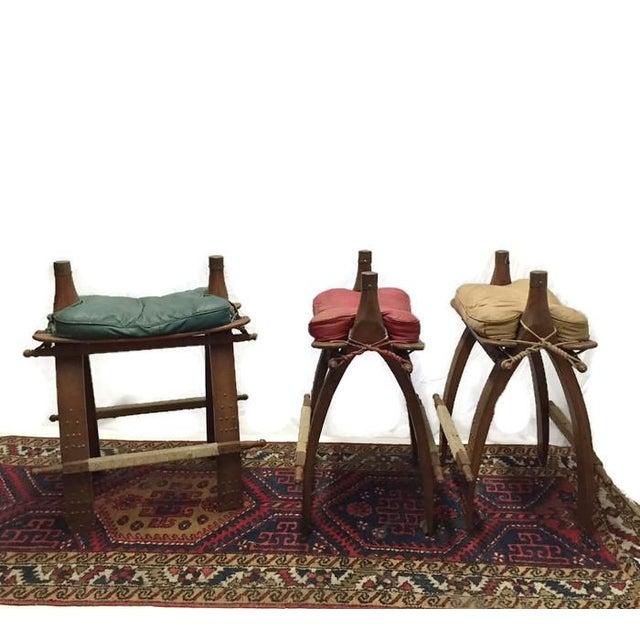 Vintage Egyptian Camel Saddle Bar Stools Set - 4 - Image 2 of 10