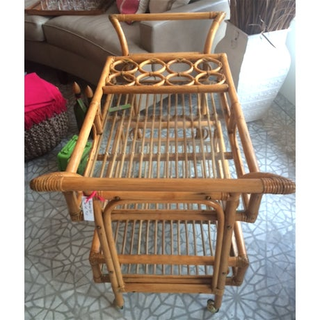 Image of Vintage Bamboo Bar Cart