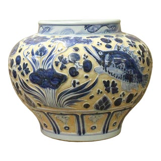 Chinese Blue White Porcelain Dimensional Fishes Scenery Accent Vase Jar