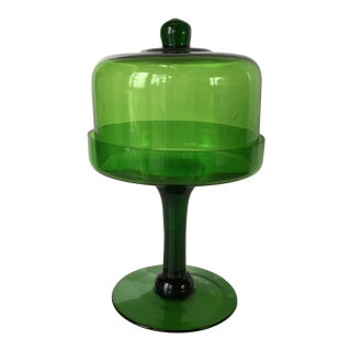 Green Glass Pedestal Stand With Dome Glass Cover