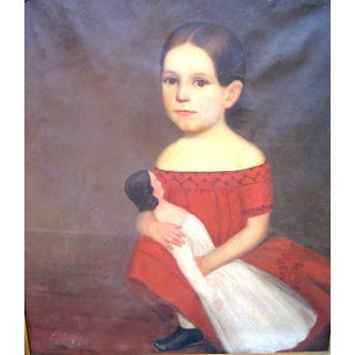 Naive Portrait of a Girl in a Red Dress