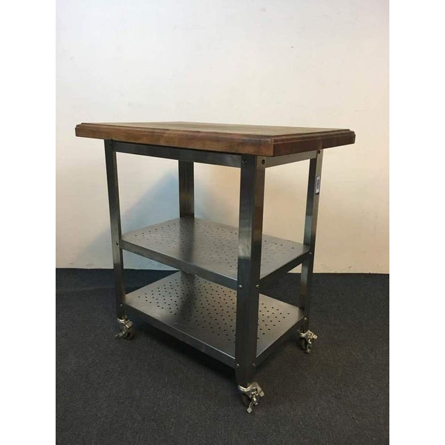 Contemporary Chrome Rolling Kitchen Island - Image 5 of 6
