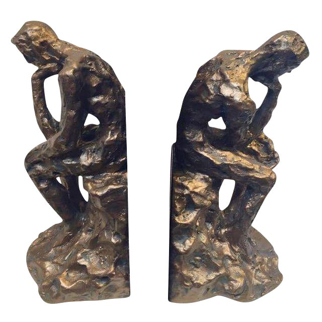 Image of Brutalist Thinking Man Bookends- A Pair