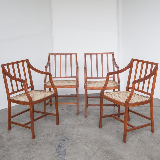 Exotic wood caned chairs set of chairish