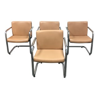 Krueger Tan Faux Leather and Chrome Armchairs - Set of 4