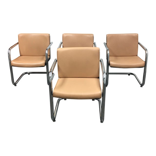 Image of Krueger Tan Faux Leather and Chrome Armchairs - Set of 4
