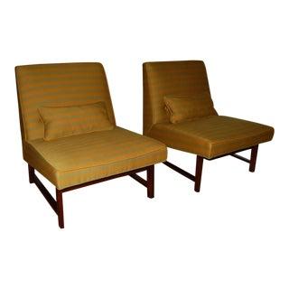 Goldenrod Striped Slipper Chair Pair by Dunbar