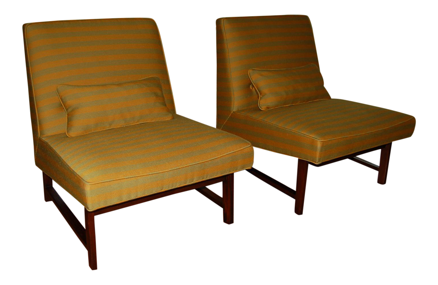Goldenrod Striped Slipper Chair Pair By Dunbar   Image 1 Of 9