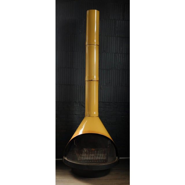 Mid-Century Indoor/Outdoor Preway Yellow Enamel Fireplace - Image 2 of 8