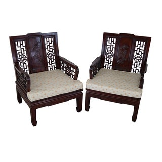 Chinese Rosewood Lounge Chairs - Pair