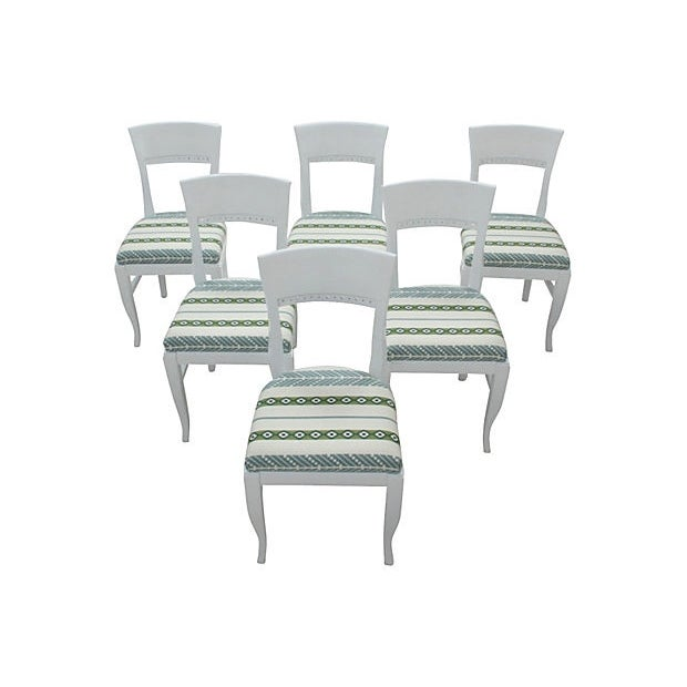 White Morrocan Stripe Dining Chairs, S/6 - Image 1 of 6
