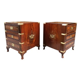 Vintage Camphor Campaign Chest of Drawers Tables - A Pair