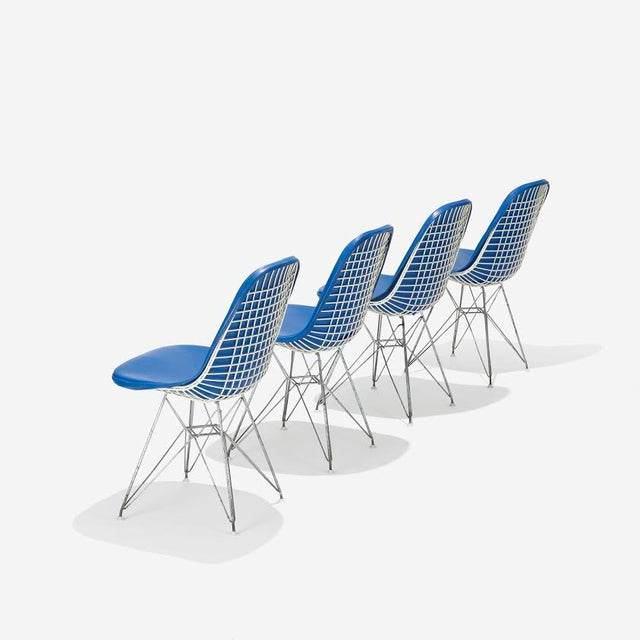Blue Eames DKR-1s Dining Chairs - Set of 4 - Image 3 of 4