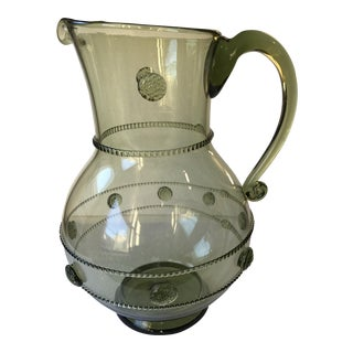 Green Handblown Glass Pitcher