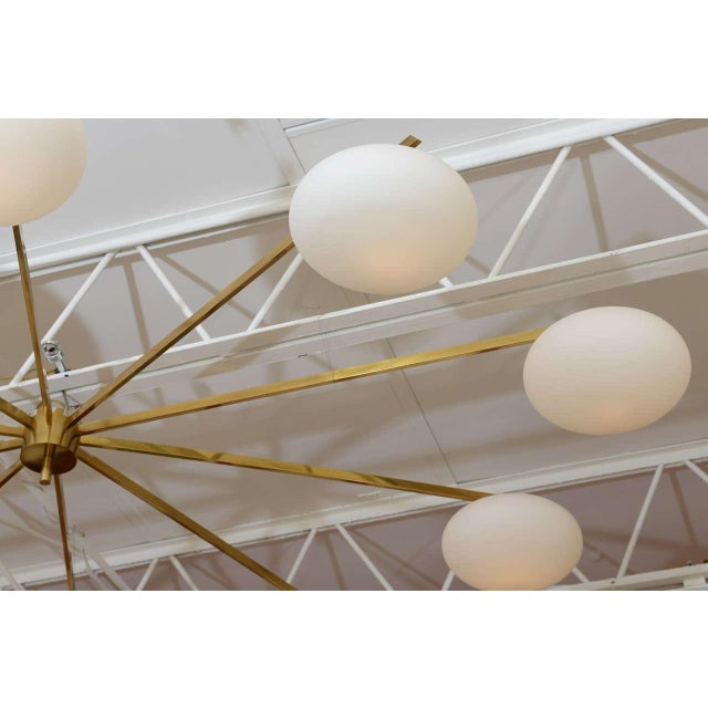 Mid-Century Modern Ten-Opaline Shade Chandelier in the style of Arredoluce - Image 8 of 10