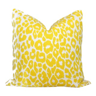 "20"" x 20"" Schumacher Iconic Leopard in Yellow Decorative Pillow Cover"