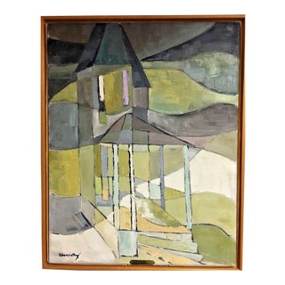Vintage Mid-Century Cubist Abstract Landscape Architecture Oil Painting