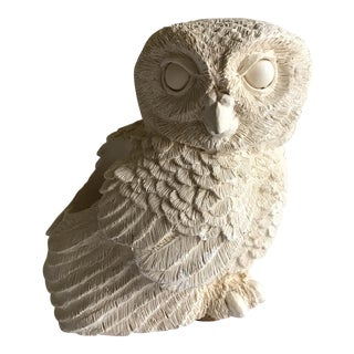 Retro Texturally Carved Owl Candleholder
