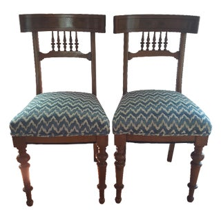 Klismos-Style Burl Wood Spindle Chairs - A Pair