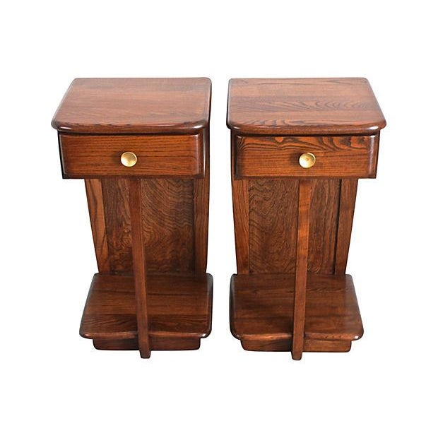 Image of Early Mid-Century Modern Nightstands - A Pair