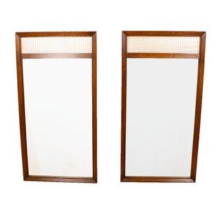 Milo Baughman Style Walnut Mirrors - Pair