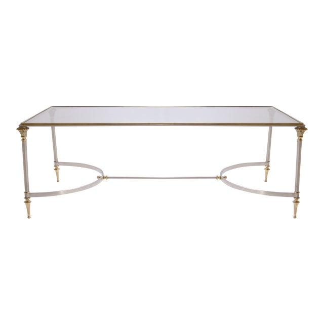 Maison Jansen Style Brass & Steel Cocktail Table - Image 1 of 7