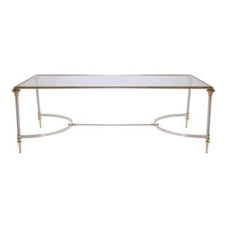 Maison Jansen Style Brass & Steel Cocktail Table