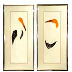Image of Roslyn Rose Embossed Stork Serigraphs - A Pair
