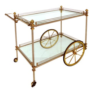 Maison Jansen Style Brass & Metal Tea Trolley / Bar Cart
