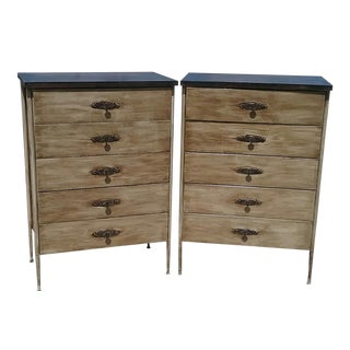 Metal Framed Mid-Century Modern Chests of Drawers - A Pair
