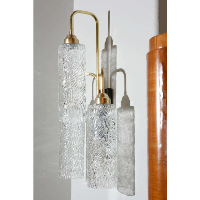 Large Brass Sconces with Vintage German Glass - Image 3 of 6