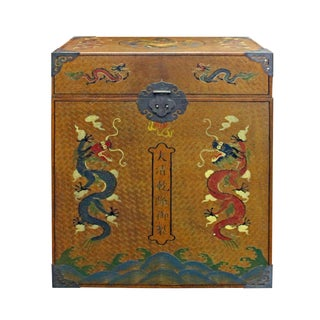 Chinese Golden Brown Dragon Graphic Trunk Box