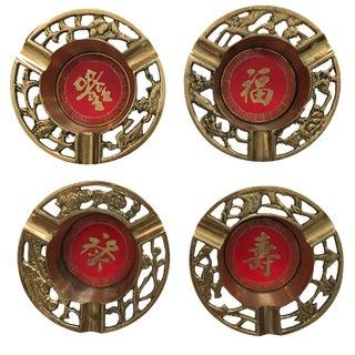 Brass Asian Ashtrays - Set of 4