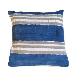 Indigo Mudcloth Striped Throw Pillow