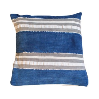 Indigo Mudcloth Striped Throw Pillow