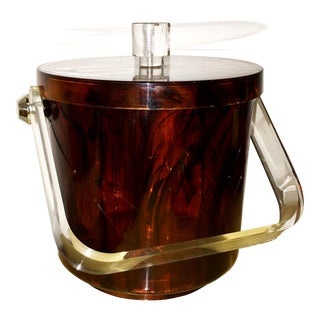 Mid-Century Modern Vintage Faux Tortoiseshell Ice Bucket with Lucite Handle