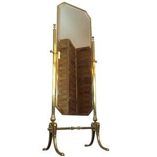 Vintage Brass Cheval Standing Floor Mirror