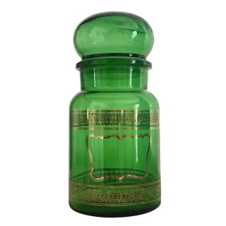 Gold & Green Belgian 1970s Tall Apothecary Bottle